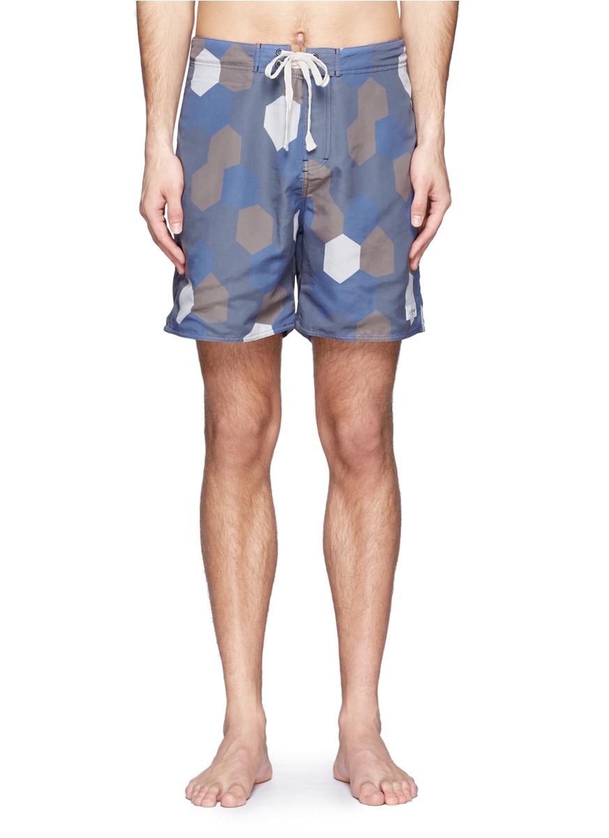 59f06bdf57 Lyst - Saturdays NYC Tiefront Hexagon Print Swim Shorts in Blue for Men