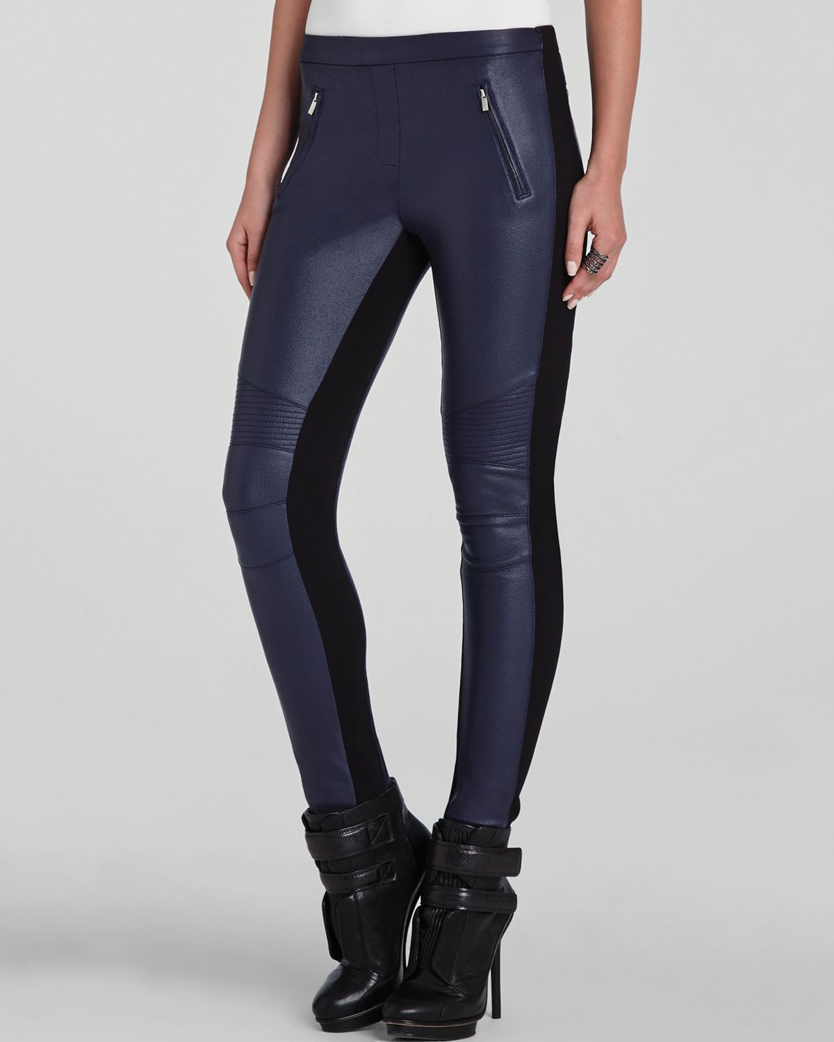 Faux leather leggings navy