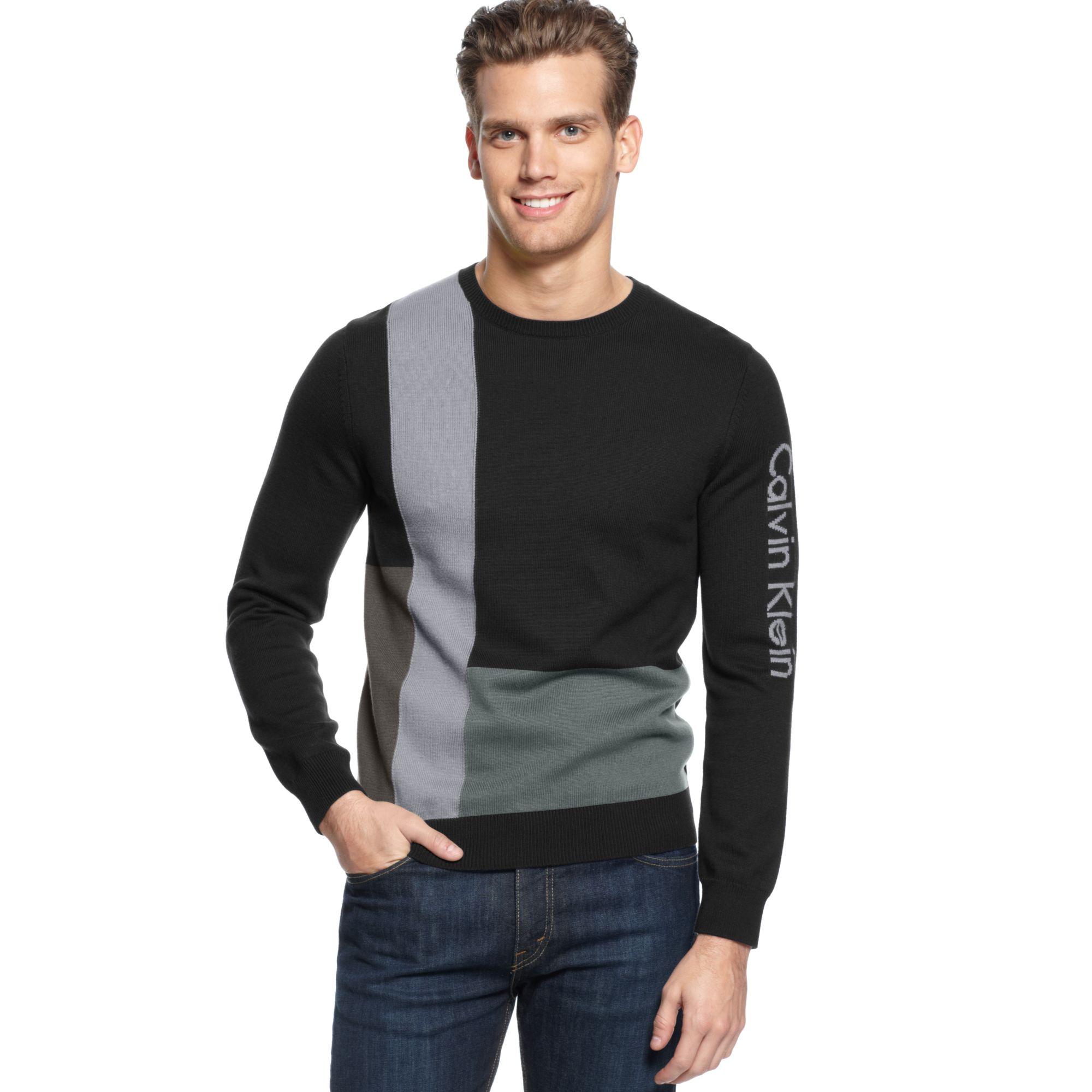 0d33251c1121 Lyst - Calvin Klein Colorblock Intarsia Sweater in Black for Men