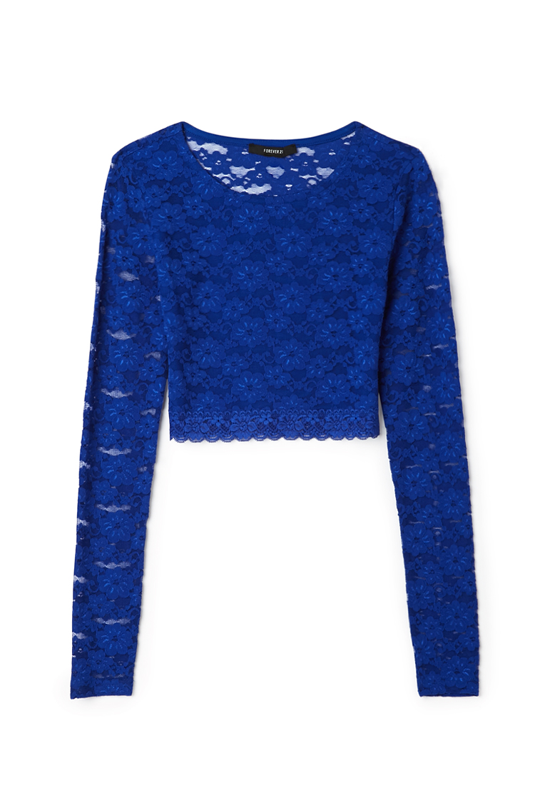 Forever 21 Sweet Side Lace Crop Top In Blue Lyst
