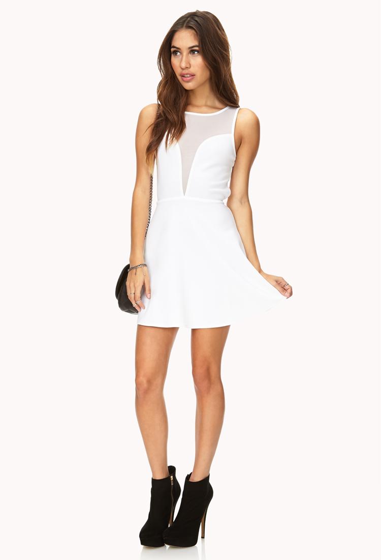 Forever 21 Mesh Darling Skater Dress in White | Lyst - photo #43