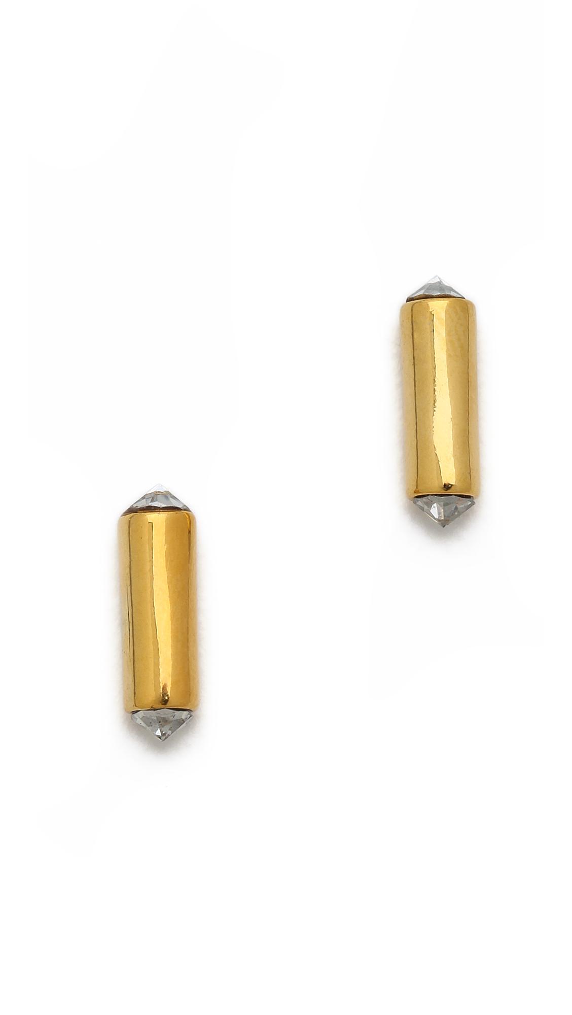 minkoff mini bar stud earrings in gold gold