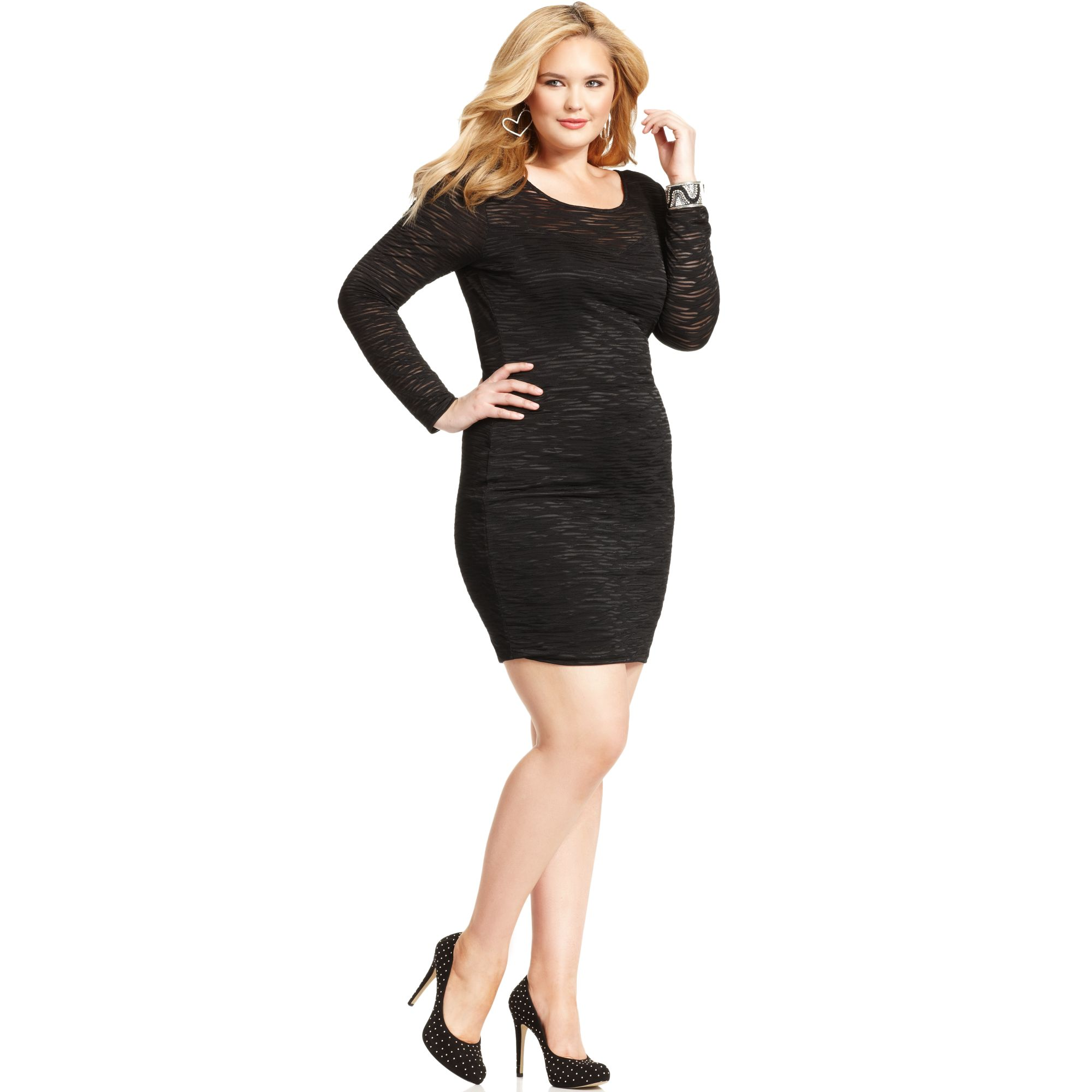 Lyst Soprano Plus Size Longsleeve Illusion Bodycon Dress In Black