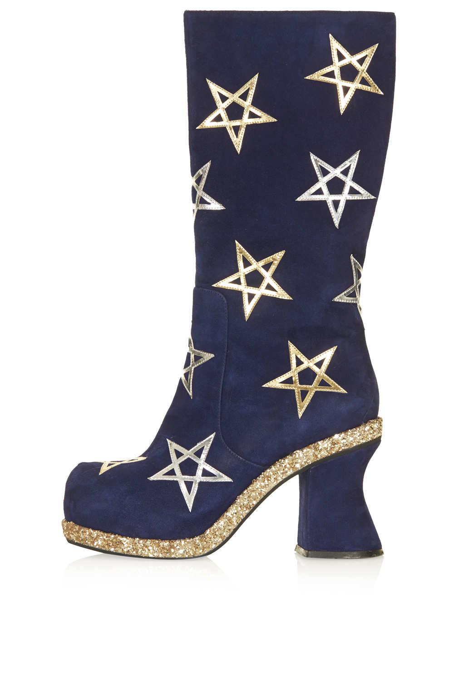 Topshop Navy Pentagram Boots in Blue (NAVY BLUE) | Lyst