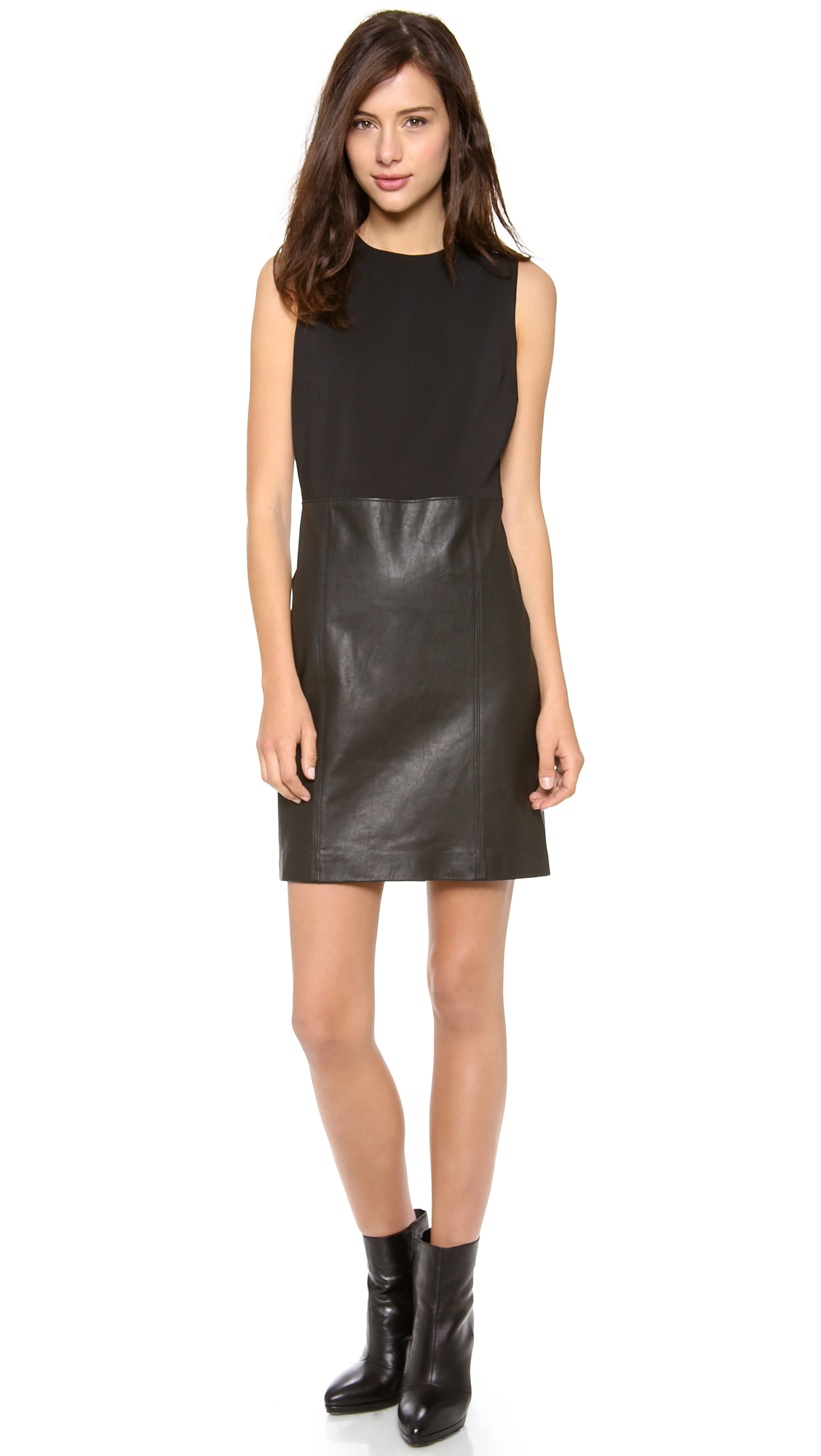 vince sleeveless dress with leather skirt in black lyst
