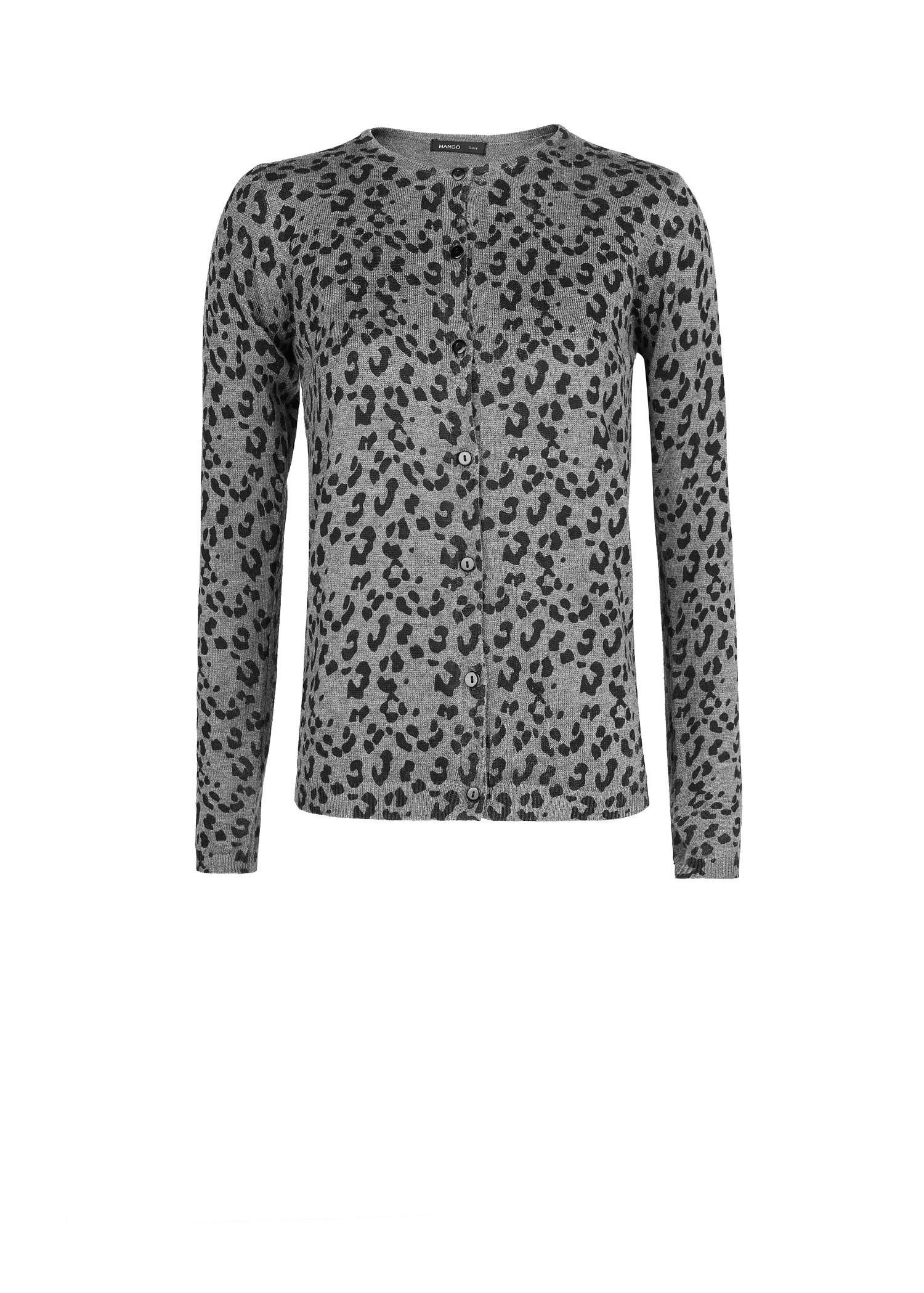 Mango Leopard Print Cardigan in Gray | Lyst