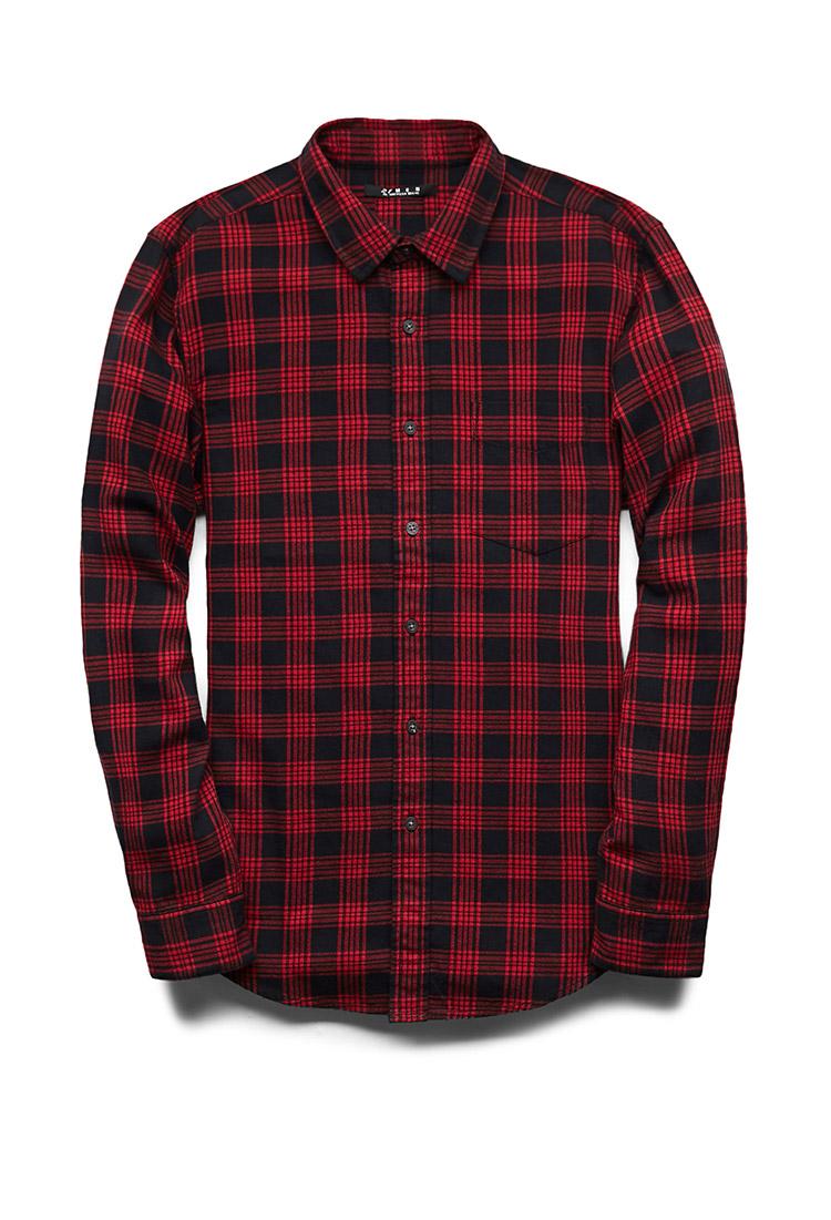 Lyst forever 21 fireside plaid shirt in black for men for Black plaid shirt mens