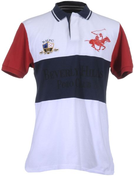 Beverly hills polo club polo shirts in blue for men white lyst