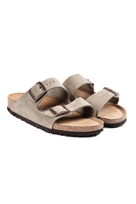 birkenstock arizona suede sandals in gray taupe lyst. Black Bedroom Furniture Sets. Home Design Ideas