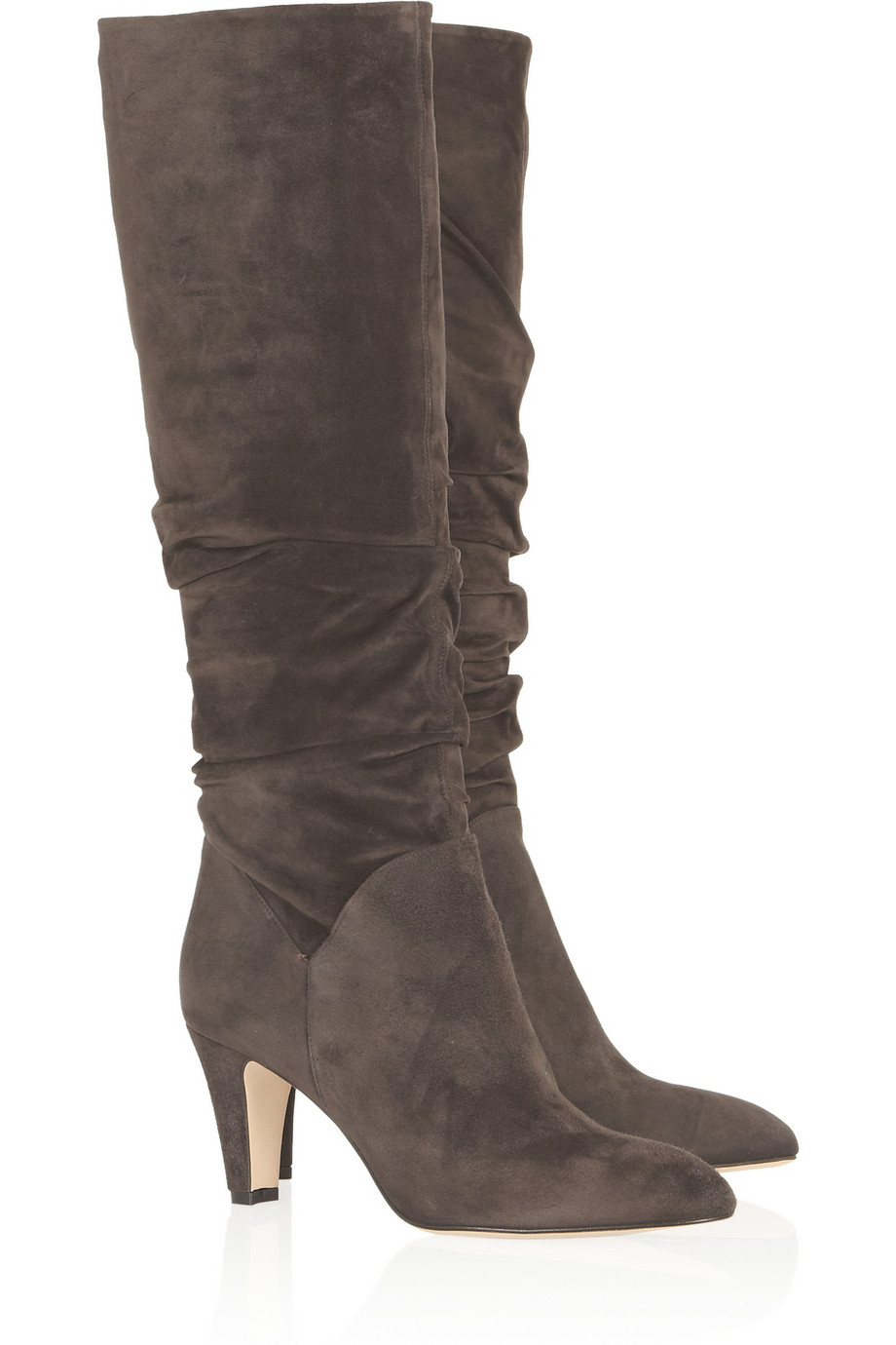 brian atwood berton ruched suede knee boots in gray lyst