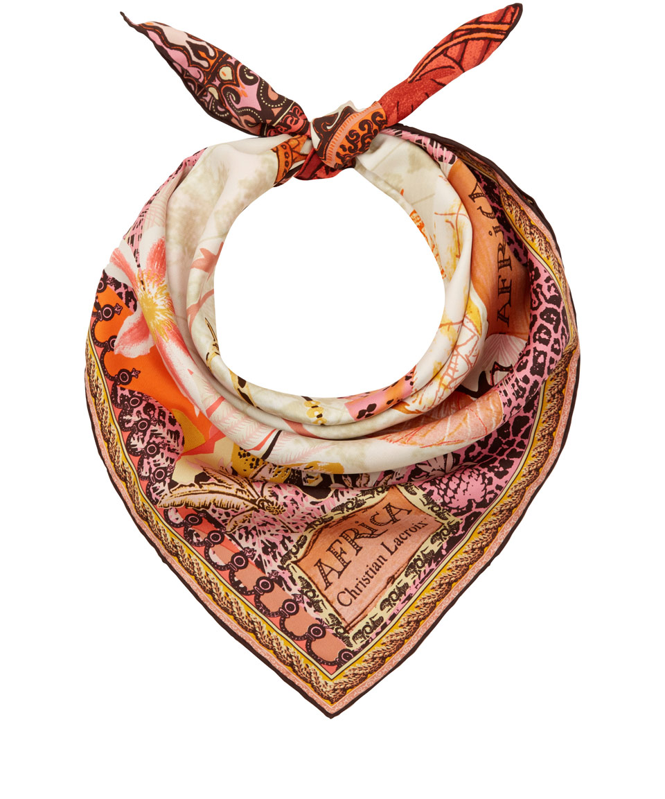 christian lacroix africa print silk scarf in orange lyst