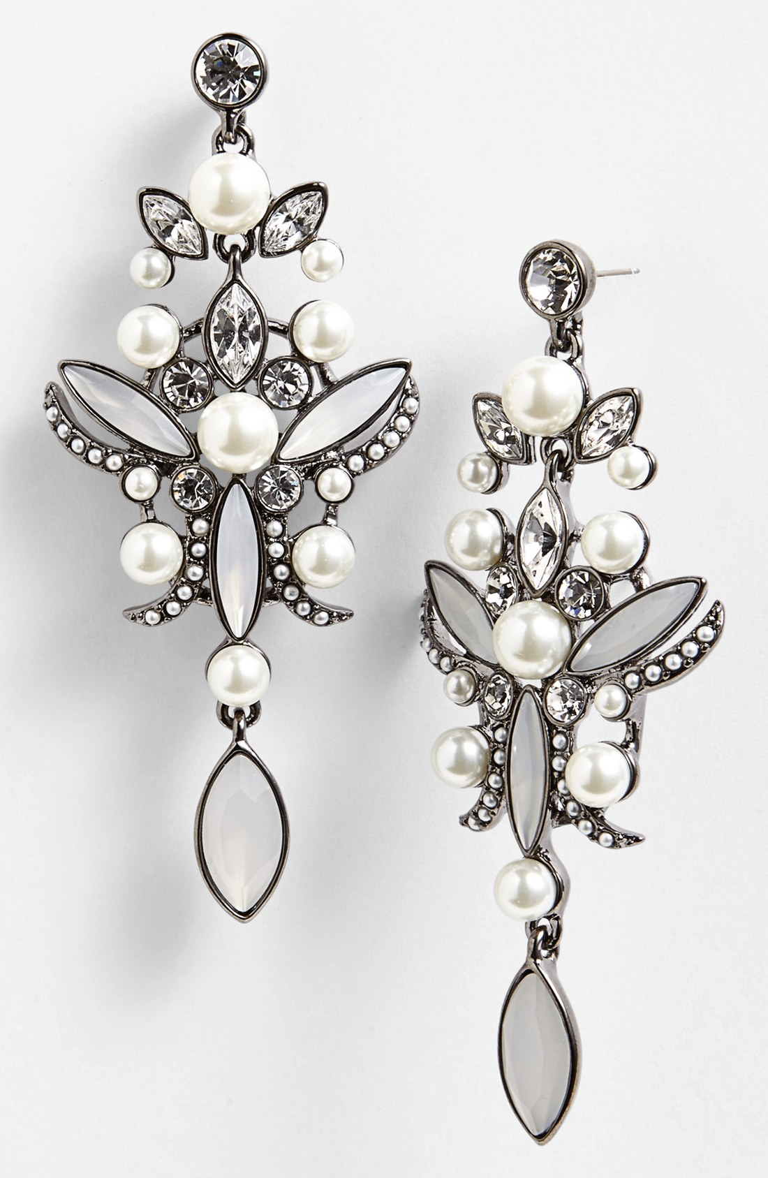 Lyst givenchy faux pearl crystal chandelier earrings in metallic gallery arubaitofo Gallery