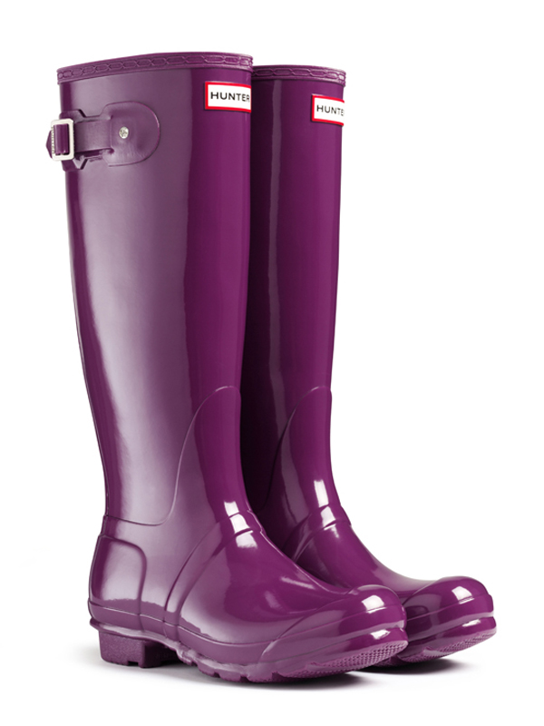 Hunter Original Tall Gloss Rain Boots in Purple | Lyst