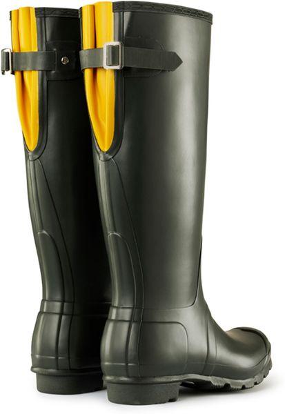 Hunter Colorblock Back Adjustable Rain Boots In Black
