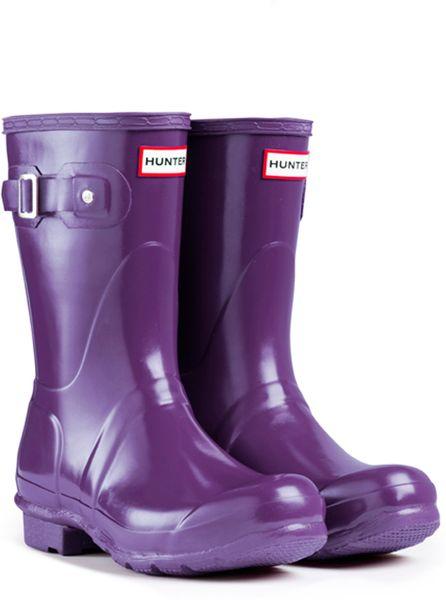 Hunter Original Short Gloss Rain Boots In Purple For Men