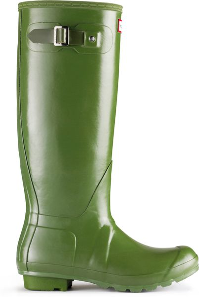 Hunter Original Tall Leather Lined Rain Boots In Green
