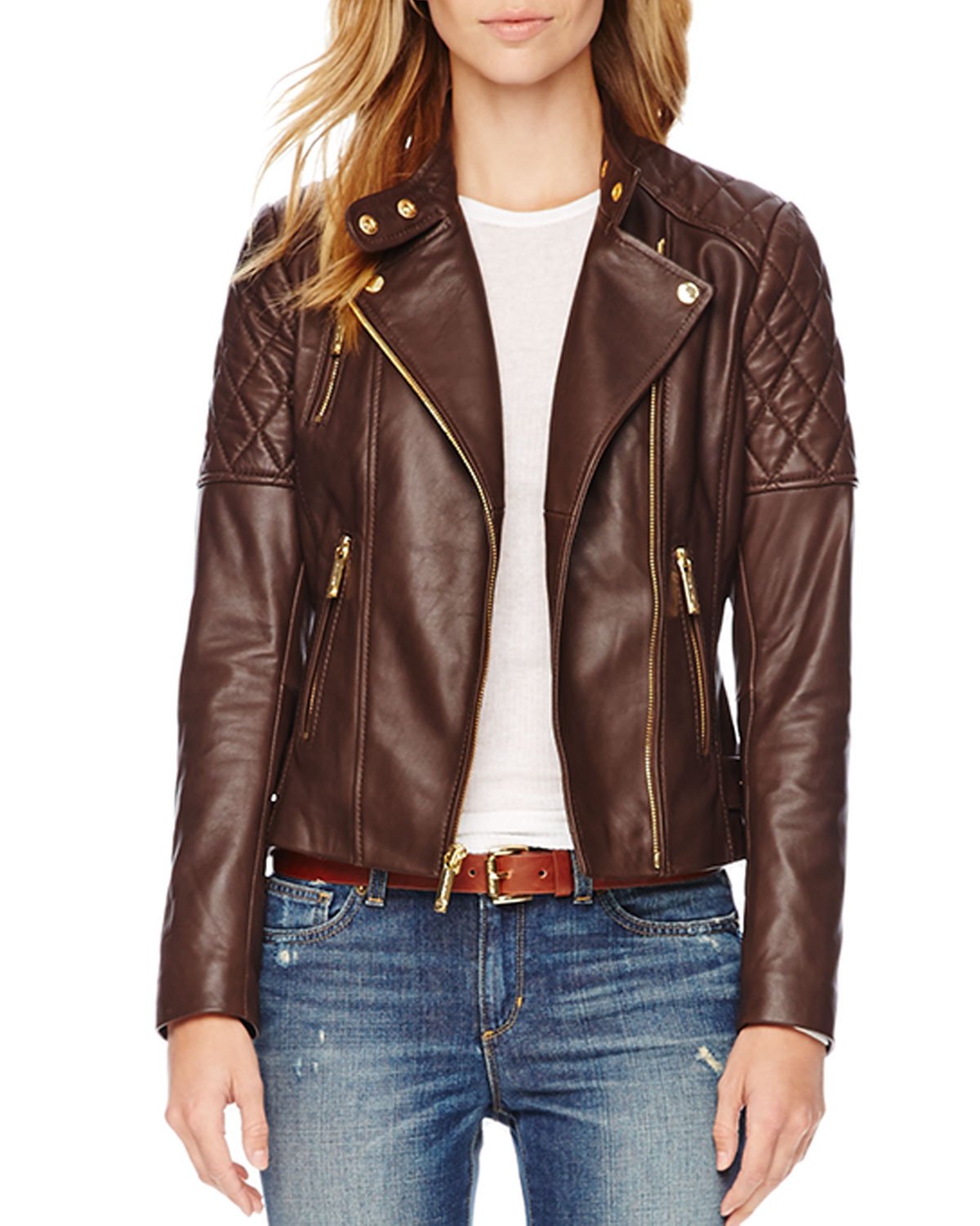 35b8e771e0fd MICHAEL Michael Kors Quilted Leather Jacket in Brown - Lyst