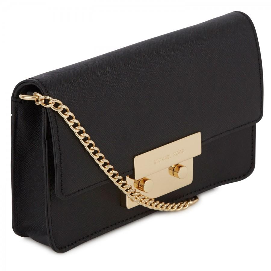 1b7cd54a22a2 Michael Kors Sloan Saffiano Leather Crossbody Bag in Black - Lyst