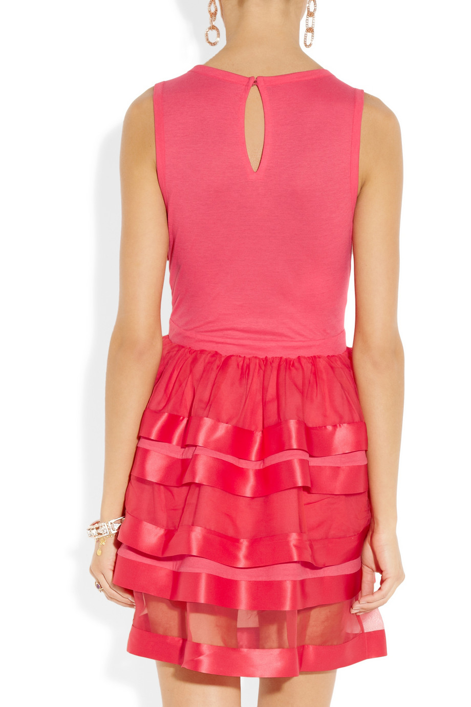 Lyst Miu Miu Ruffled Cottonjersey And Silkorganza Dress