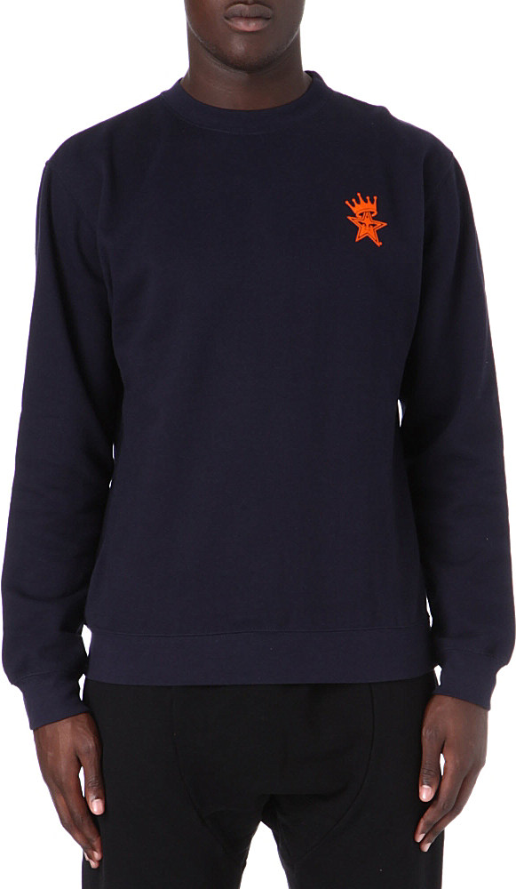Obey Crown Star Cotton Sweater in Blue for Men (Navy) | Lyst