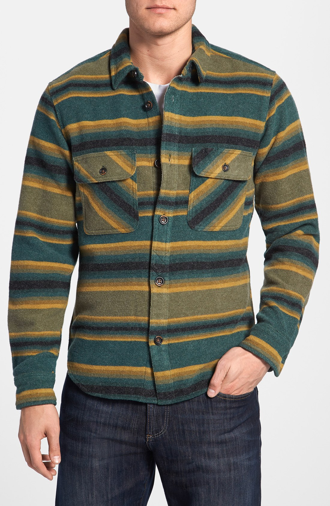 Prps blanket stripe wool blend flannel shirt in green for for Mens wool flannel shirt