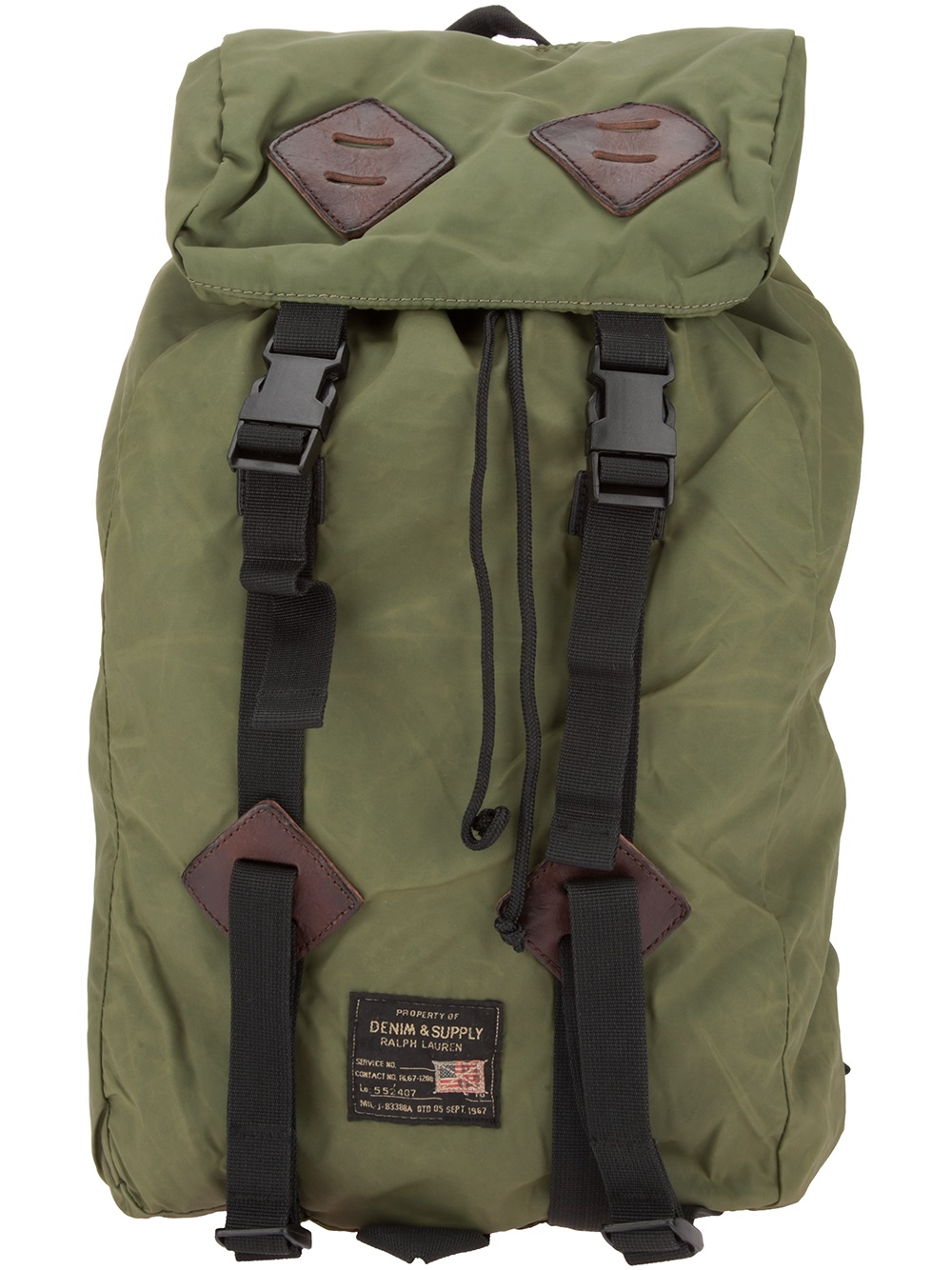 Ralph Lauren Leather Patch Backpack In Green For Men Lyst