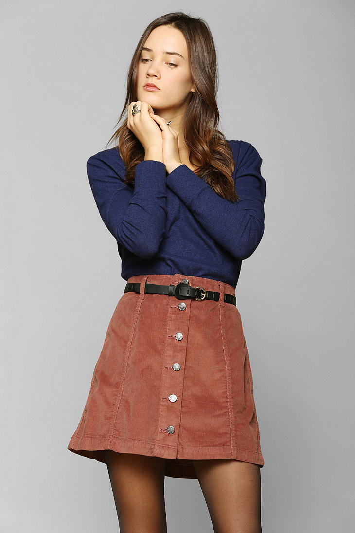 d8f54d6c6 Urban outfitters Bdg Buttonfront Corduroy A-line Skirt in Brown | Lyst