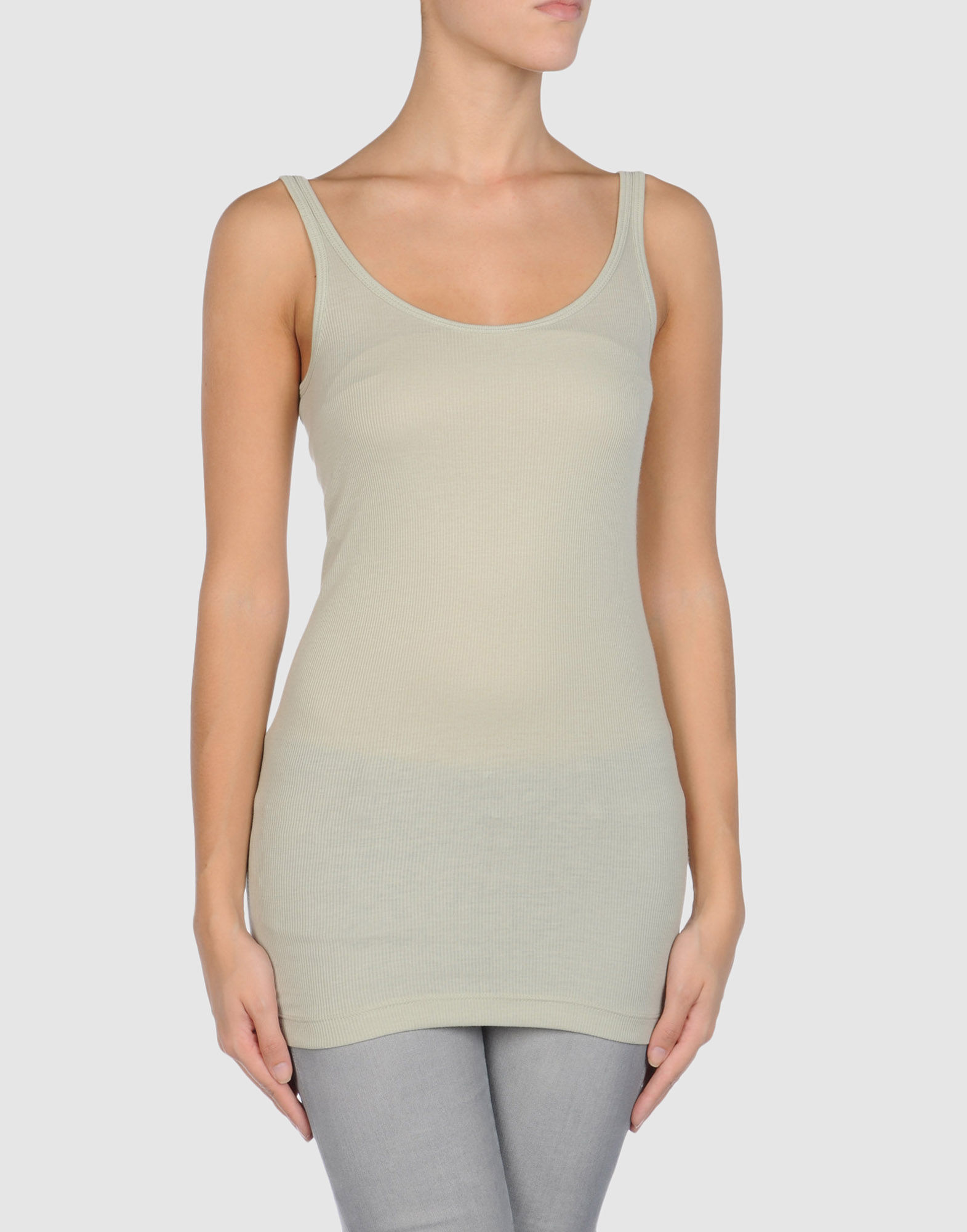 Vince sleeveless t shirt in gray light grey lyst for Vince tee shirts sale
