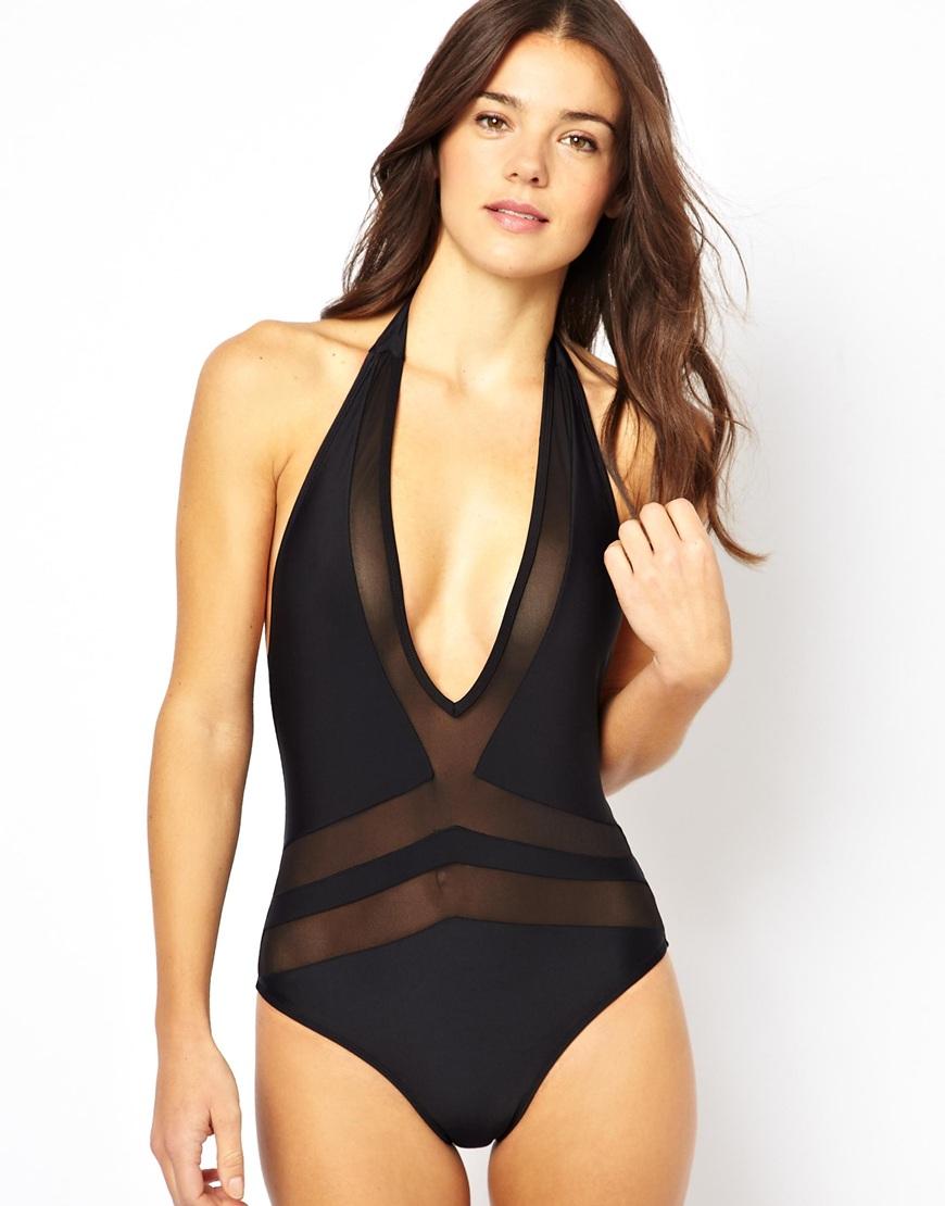 Lyst Asos Mesh Insert V Plunge Swimsuit In Black