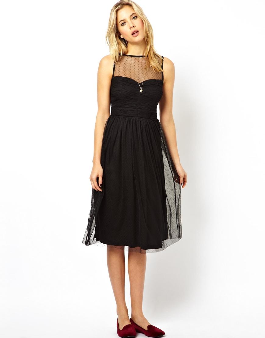 Lyst - Asos Prom Mesh Midi Dress in Black