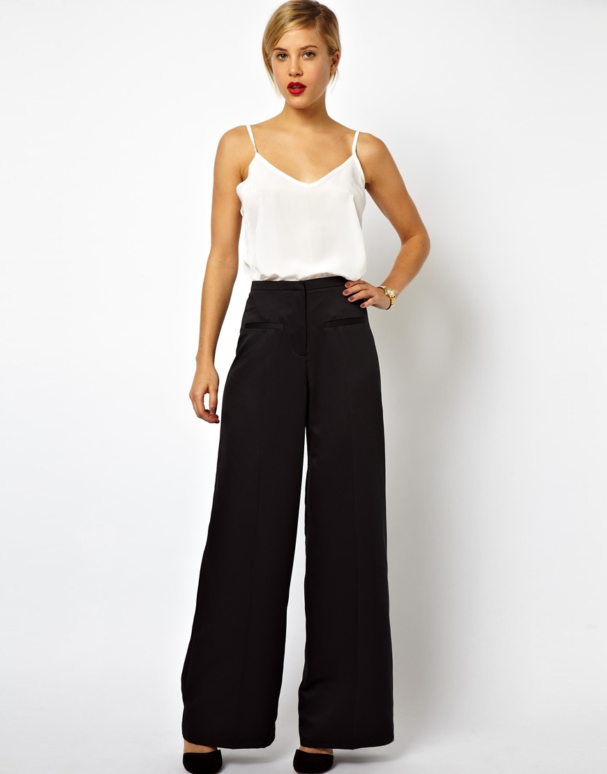 Asos Wide Leg Pants in Satin in Black | Lyst