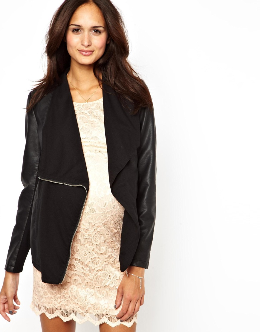 Leather jacket new look - New Look Black Leather Faux Fur Collar Jacket