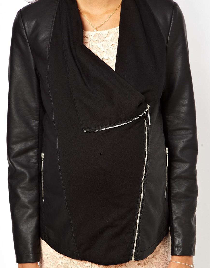 Asos New Look Maternity Pu Waterfall Jacket In Black Lyst