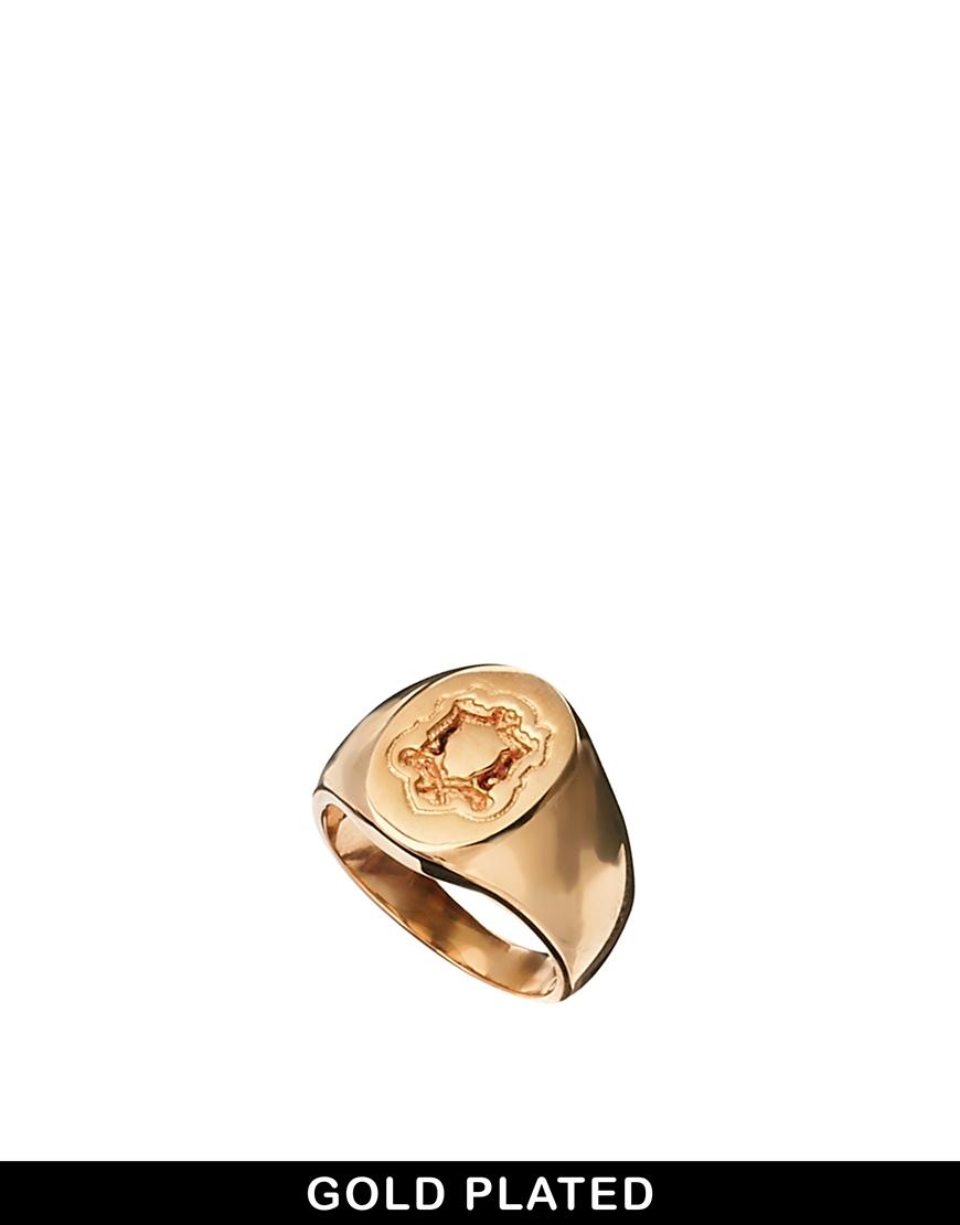 Asos Rose Gold Plated Pinky Ring in Metallic