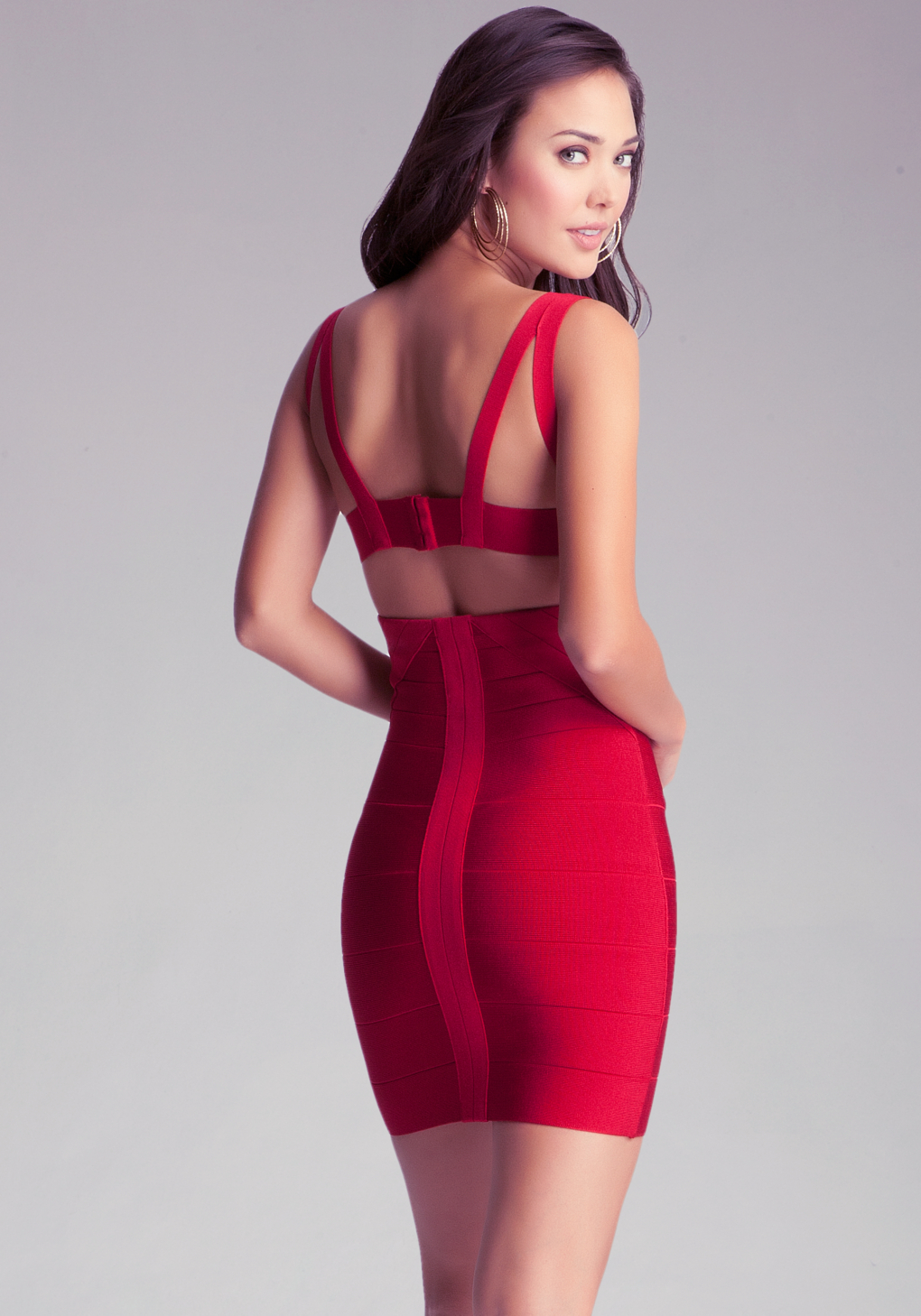 Lyst Bebe Strap Bandage Dress In Red