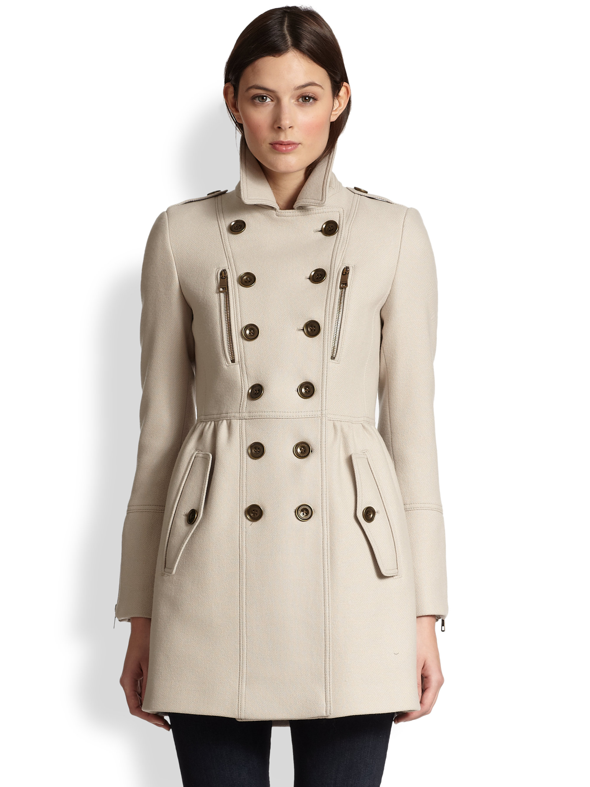 burberry brit winsleigh wool trench coat in natural lyst. Black Bedroom Furniture Sets. Home Design Ideas