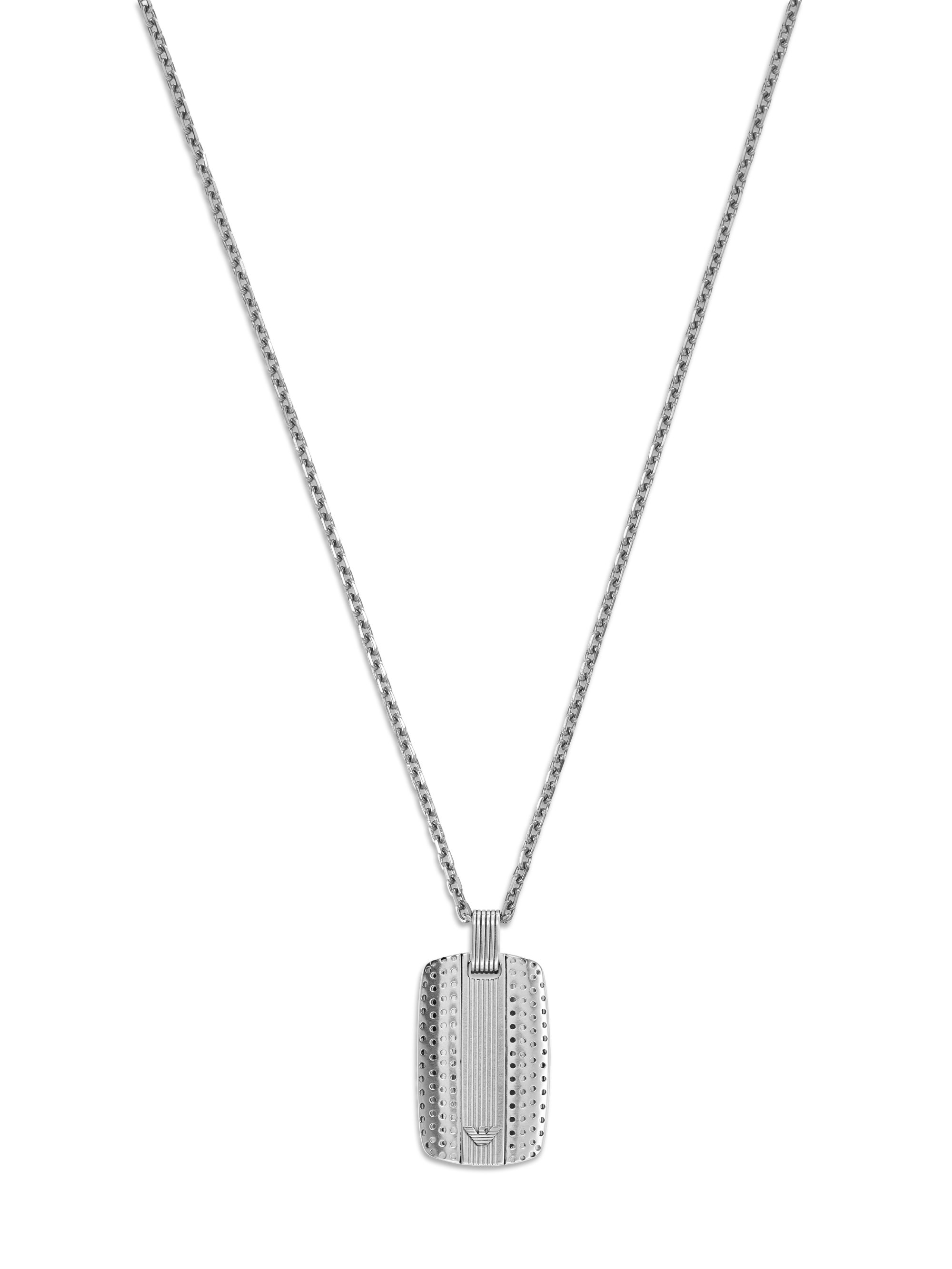 emporio armani gent necklace in metallic for lyst
