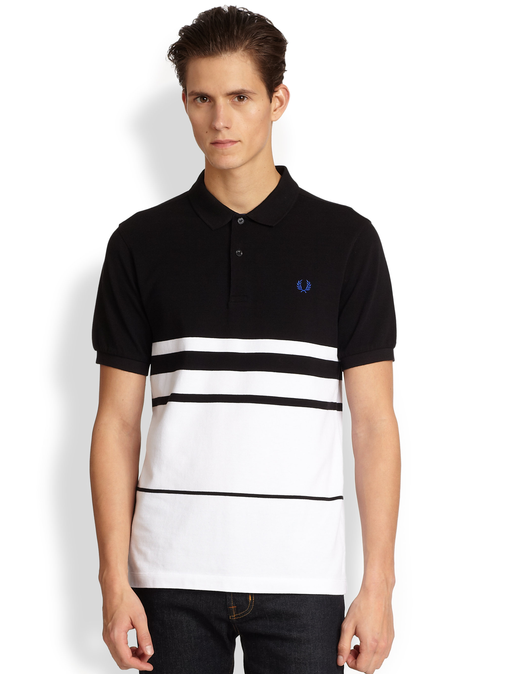 Lyst Fred Perry Engineered Stripe Polo Shirt In Black