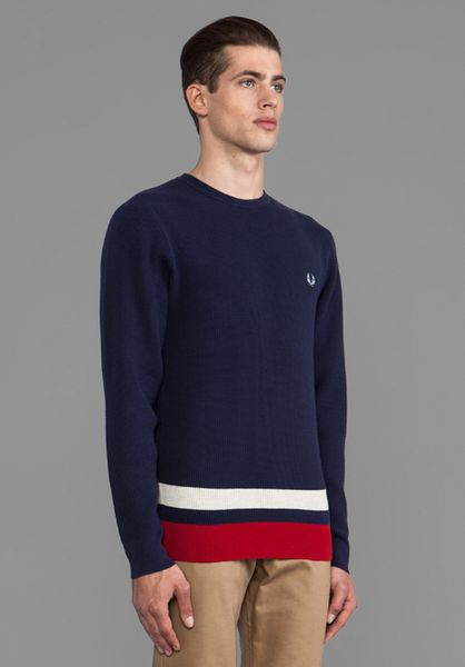 fred perry pullover sweater in navy in blue for men carbon blue. Black Bedroom Furniture Sets. Home Design Ideas