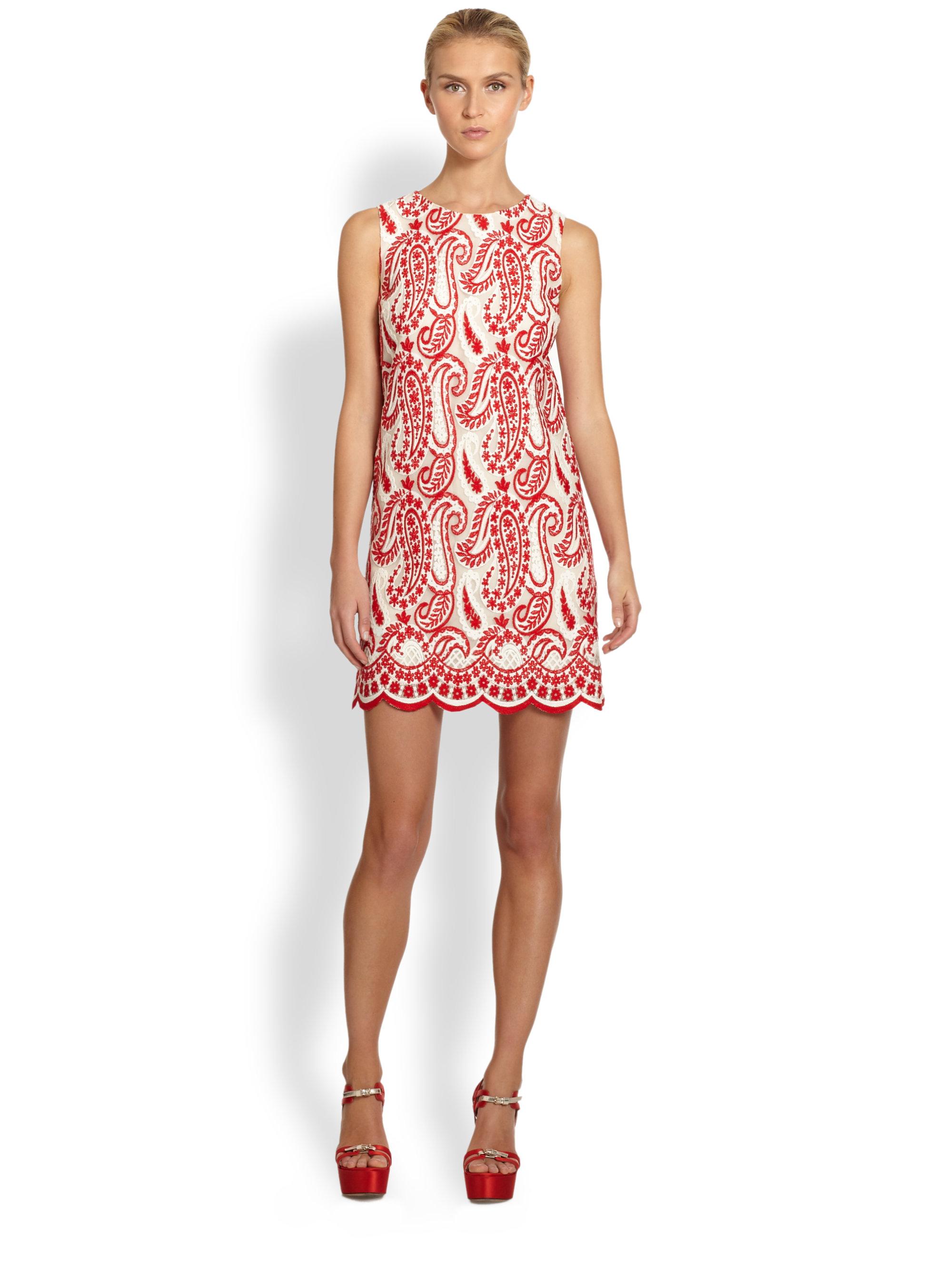 Giambattista valli paisley embroidery dress in red lyst