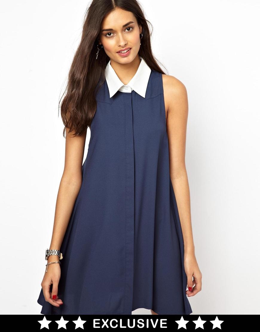 Lyst glamorous sleeveless swing shirt dress with for Sleeveless dress shirt womens