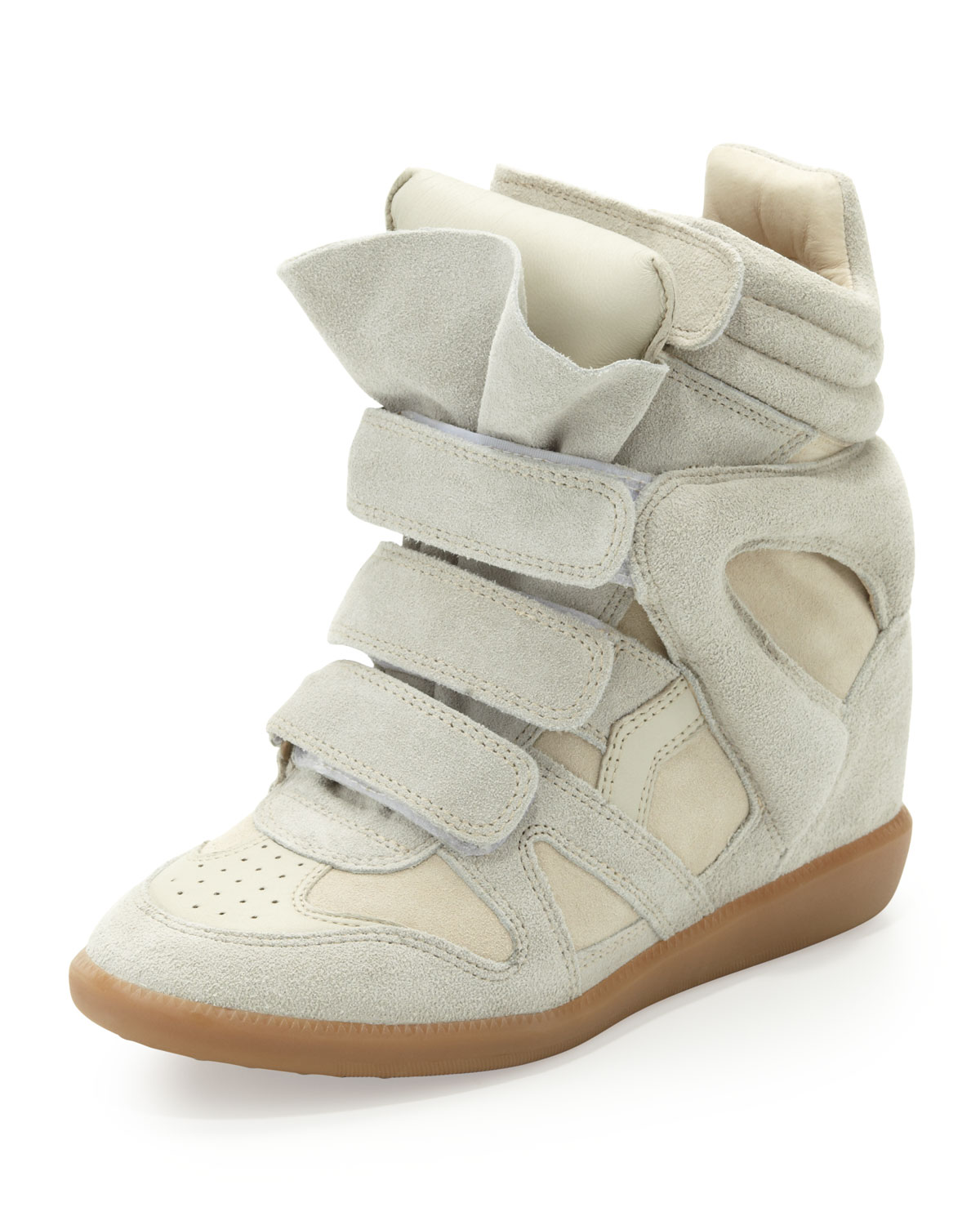 isabel marant beckett suede wedge sneaker cream in white. Black Bedroom Furniture Sets. Home Design Ideas