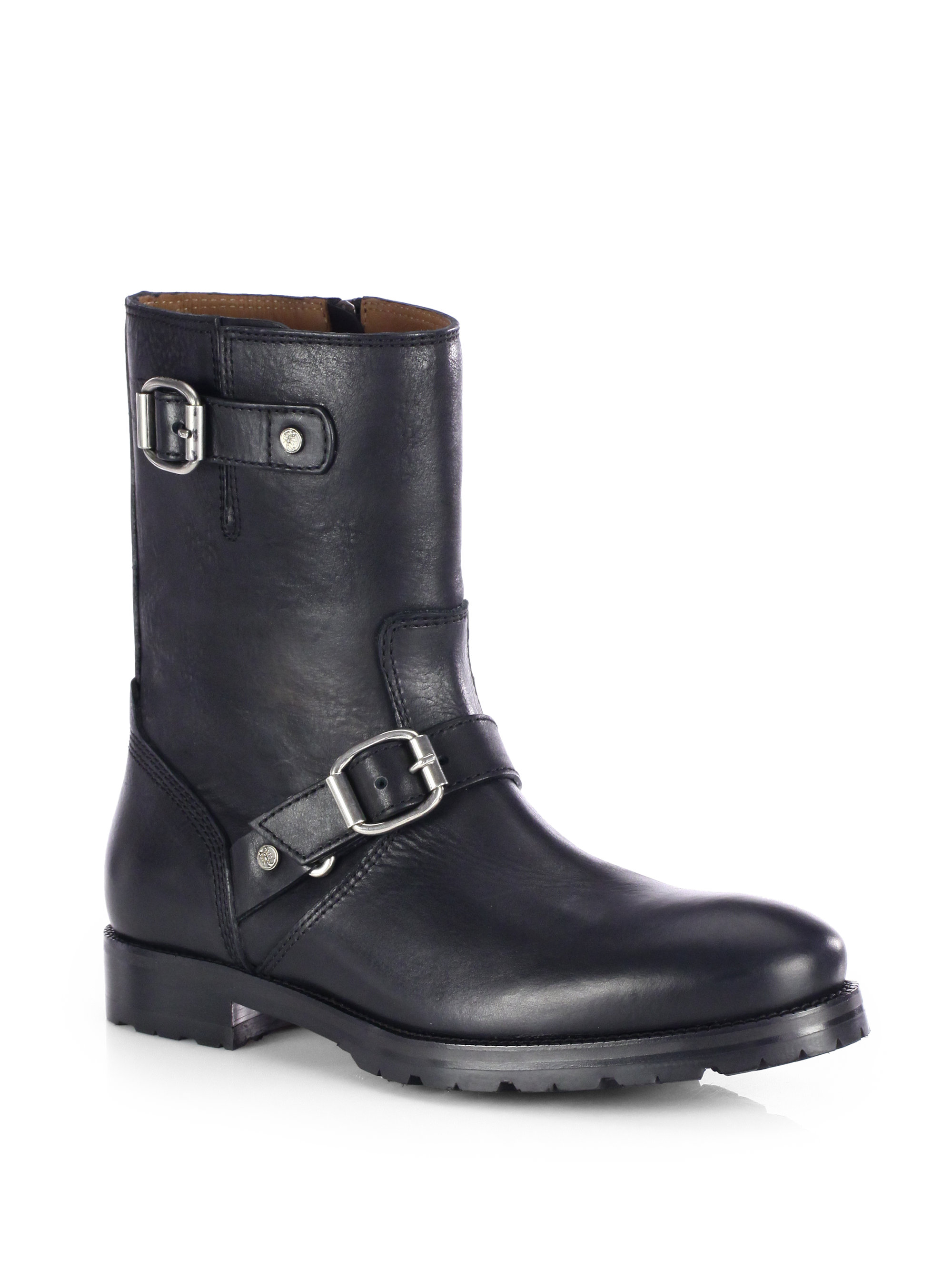 jimmy choo stanford leather biker boots in black for