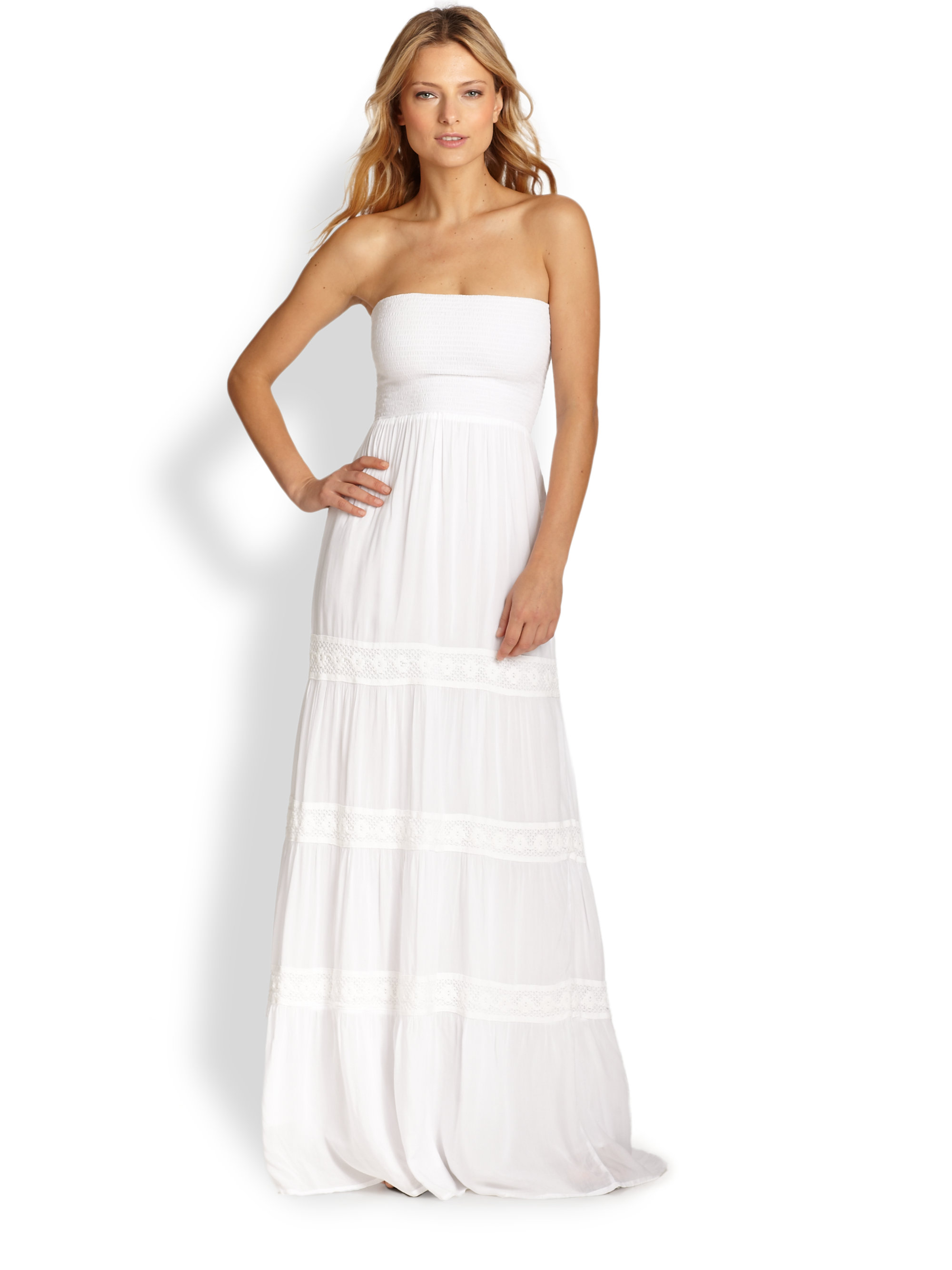 Melissa odabash Strapless Maxi Dress in White | Lyst