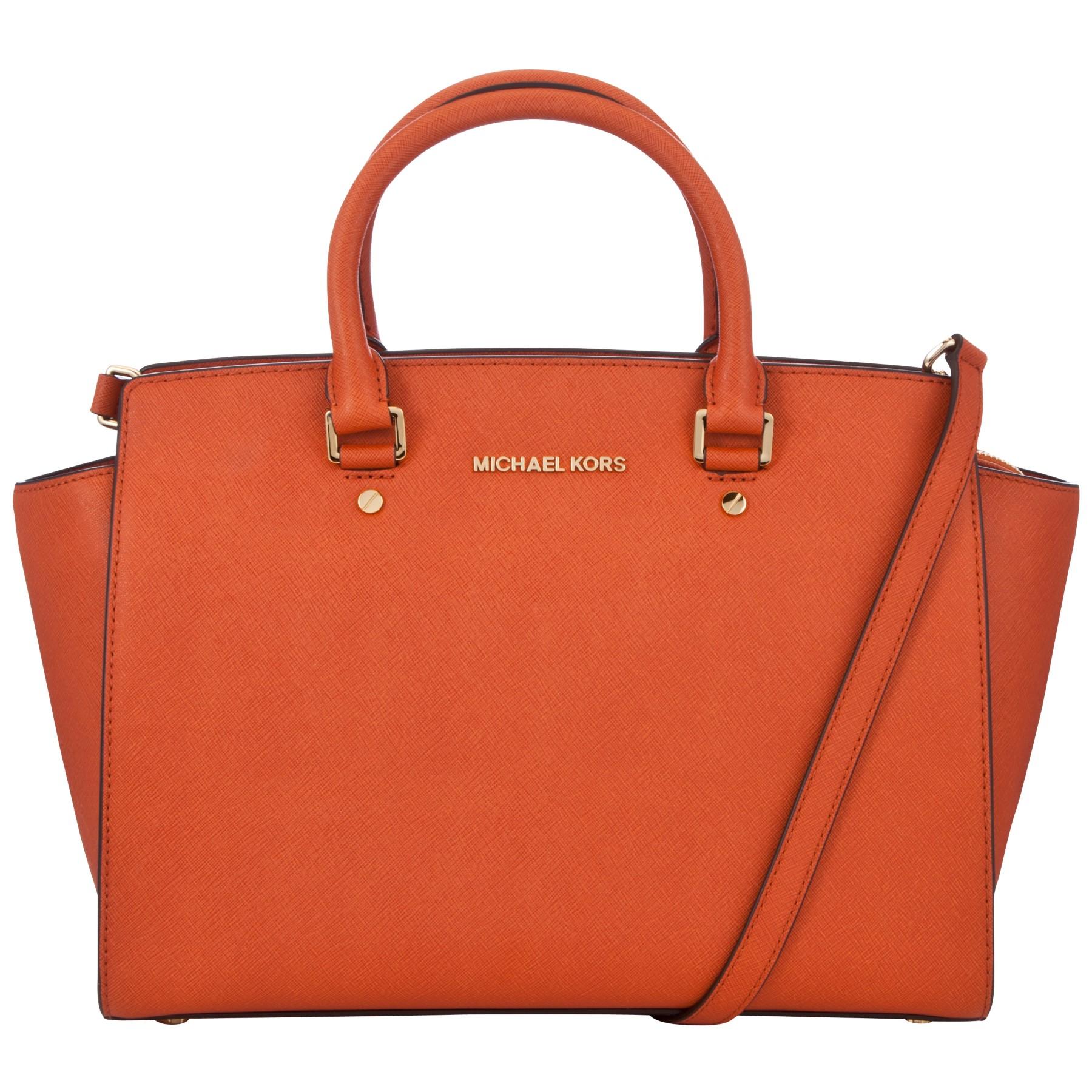 michael michael kors selma large tote handbag in orange lyst. Black Bedroom Furniture Sets. Home Design Ideas
