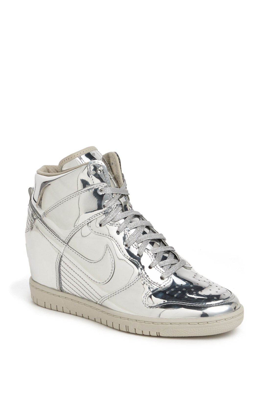 nike dunk sky hi hidden wedge sneaker in silver metallic silver white lyst. Black Bedroom Furniture Sets. Home Design Ideas