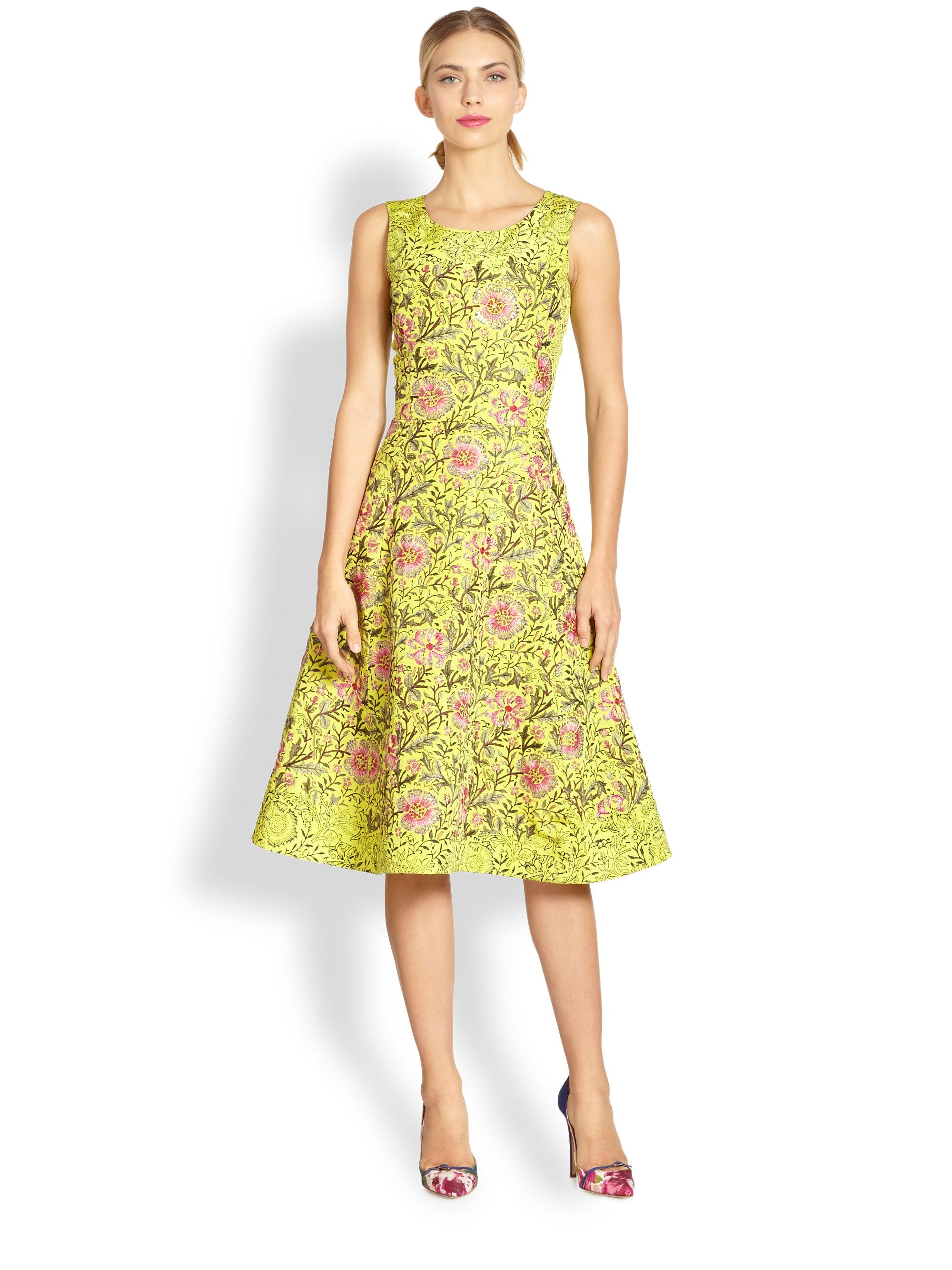 Lyst Oscar De La Renta Silk Floral Embroidery Dress In Yellow