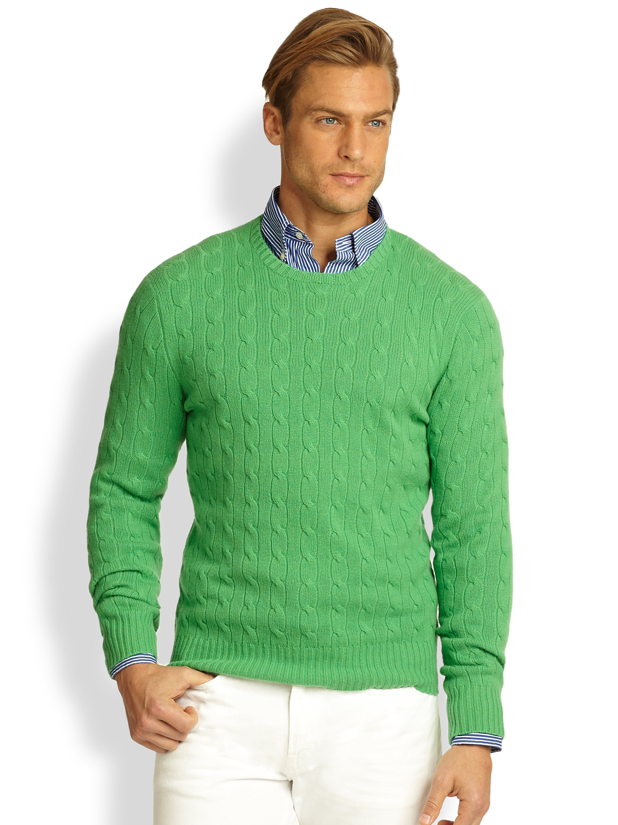 Lyst Polo Ralph Lauren Cableknit Cashmere Sweater In Green For Men