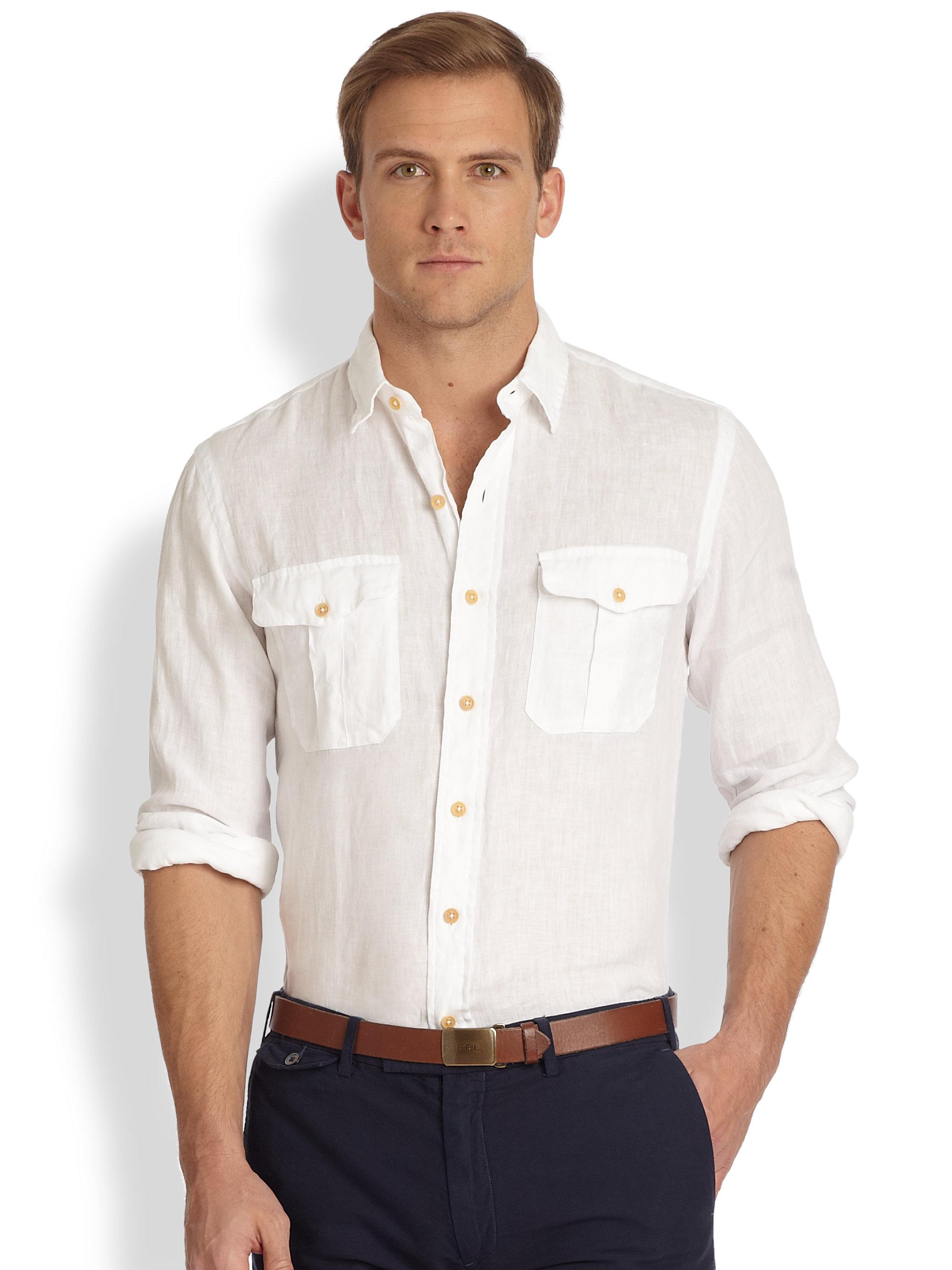 8c5489e261500 inexpensive lyst polo ralph lauren linen military workshirt in white for men  7912f 26363