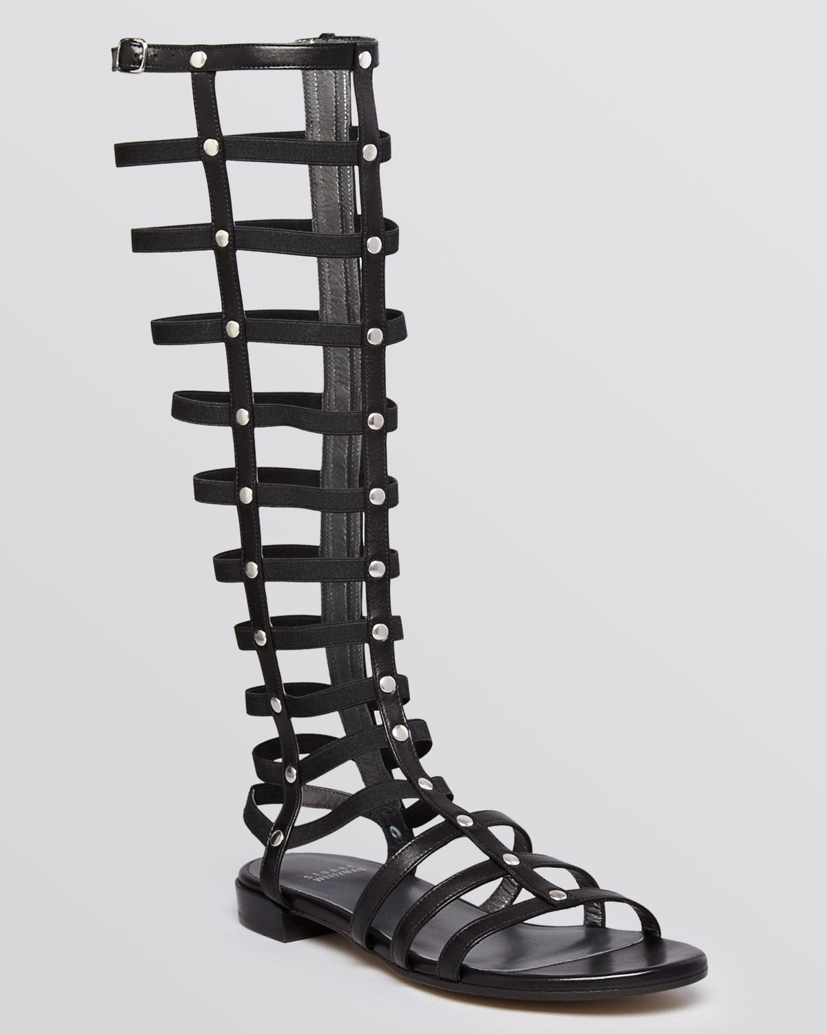 Black gladiator sandals knee high